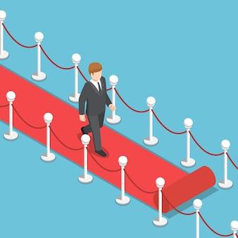 Płaskie 3d izometryczny biznesmen chodzenie na czerwonym dywanie. sukces w biznesie i koncepcja przywództwa.