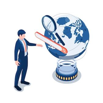 Płaskie 3d izometryczny biznesmen dotykając paska wyszukiwania na całym świecie. koncepcja optymalizacji pod kątem wyszukiwarek.