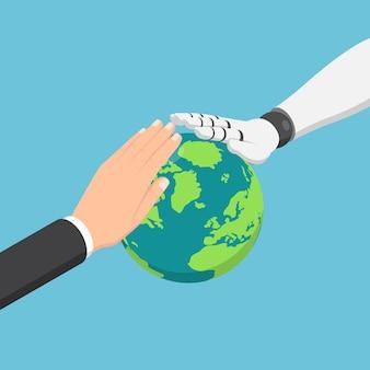 Płaskie 3d izometryczny biznesmen i ręka robota ai chroniąca świat. globalny biznes z koncepcją sztucznej inteligencji i ochrony środowiska.