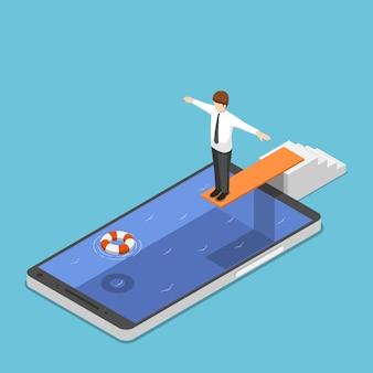 Płaskie 3d izometryczny biznesmen na trampolinie gotowy do skoku w puli smartfonów. koncepcja uzależnienia od smartfona.