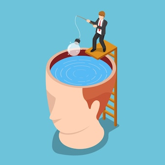Płaskie 3d izometryczny biznesmen połowów żarówki pomysł z głowy. koncepcja pomysłu.