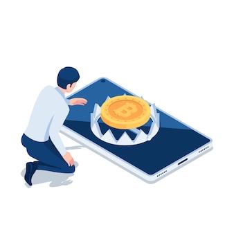Płaskie 3d izometryczny biznesmen próbuje złapać bitcoin przez pułapkę. koncepcja ryzyka inwestycyjnego kryptowalut lub bitcoinów.