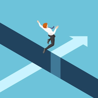 Płaskie 3d izometryczny biznesmen przeskakując przepaść między klifami. koncepcja ryzyka biznesowego i przywództwa.