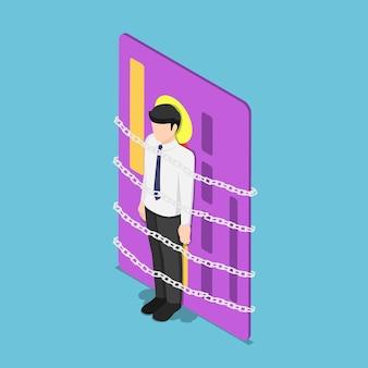Płaskie 3d izometryczny biznesmen przykuty kartą kredytową. pojęcie długu.
