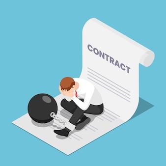 Płaskie 3d izometryczny biznesmen przykuty z dużą metalową kulą siedzi na umowie. biznesowa koncepcja niewolnictwa korporacyjnego i umowy.