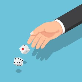Płaskie 3d izometryczny biznesmen ręce rzucając kostką. koncepcja ryzyka biznesowego i hazardu.