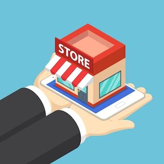 Płaskie 3d izometryczny biznesmen ręce trzymając tablet ze sklepu. koncepcja zakupów online.