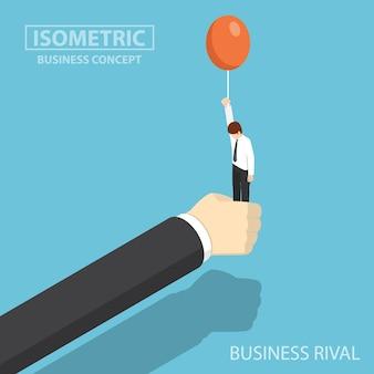 Płaskie 3d izometryczny biznesmen ręcznie zatrzymać jego rywala biznesowego, zanim unosi się balonem. koncepcja rywala biznesowego i konkurencji.