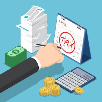 Płaskie 3d izometryczny biznesmen ręka znakowanie podatku w kalendarzu