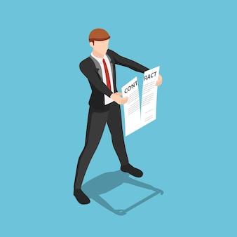Płaskie 3d izometryczny biznesmen rozdzieranie dokumentu umowy. koncepcja rozwiązania umowy biznesowej.