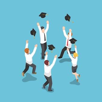 Płaskie 3d izometryczny biznesmen rzucać graduation kapelusz na niebie. koncepcja biznesu i edukacji.