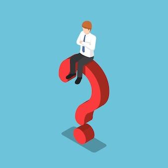 Płaskie 3d izometryczny biznesmen siedzi na znak zapytania. koncepcja problemu biznesowego.