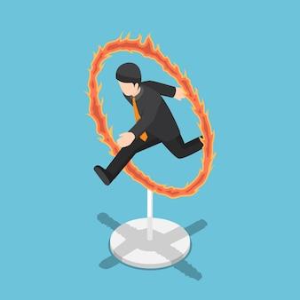 Płaskie 3d izometryczny biznesmen skoki przez obręcz ognia. koncepcja ryzyka i wyzwania biznesowe.