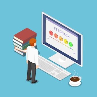 Płaskie 3d izometryczny biznesmen spojrzeć na ekran oceny. opinia na temat satysfakcji klienta i koncepcja oceny.