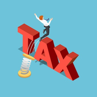 Płaskie 3d izometryczny biznesmen użyć wiosny do skoków przez podatek. koncepcja zarządzania podatkiem.