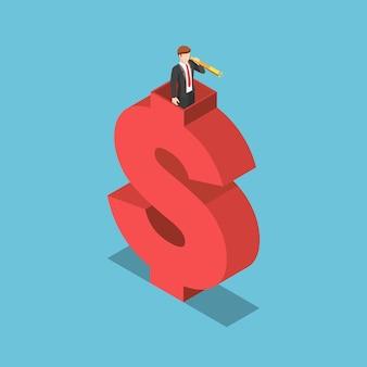 Płaskie 3d izometryczny biznesmen używać teleskopu na górze znak dolara. wizja biznesowa i koncepcja widoczności finansowej.