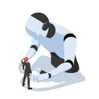 Płaskie 3d izometryczny biznesmen w obliczu robota przeciwko ai. ludzie kontra roboty i koncepcja technologii sztucznej inteligencji.