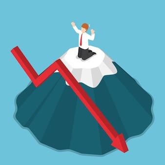 Płaskie 3d izometryczny biznesmen zatrzymany na szczycie góry. koncepcja ryzyka inwestycyjnego i kryzysu biznesowego