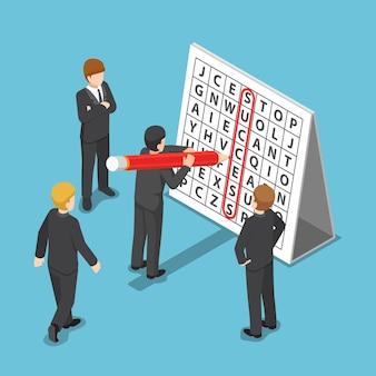 Płaskie 3d izometryczny biznesmen znalazł sukces w puzzle wyszukiwania słowa. koncepcja sukcesu firmy.