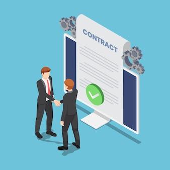 Płaskie 3d izometryczny biznesmenów drżenie ręki z dokumentem umowy online umowy na monitorze komputera. umowa biznesowa online.