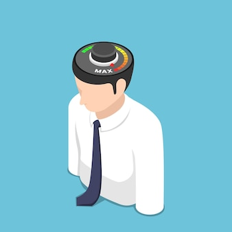 Płaskie 3d izometryczny busienssman z miernika w pozycji max na głowie. motywacja i koncepcja pomysłu.