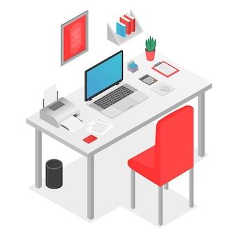 Płaskie 3d izometryczny koncepcja obszaru roboczego z laptopem na stole.