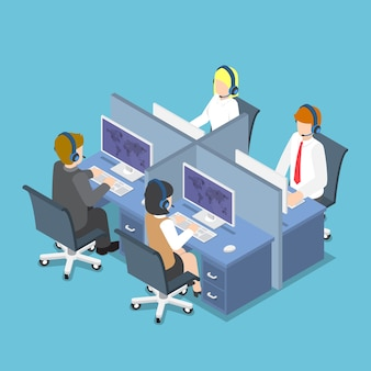 Płaskie 3d izometryczny ludzi biznesu pracujących z zestawem słuchawkowym w call center i usługi. obsługa klienta i koncepcja pomocy technicznej.