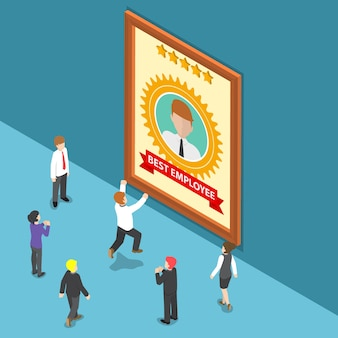 Płaskie 3d izometryczny ludzie biznesu świętują nagrodę dla najlepszego pracownika. pracownik miesiąca