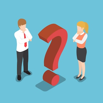 Płaskie 3d izometryczny mylić biznesmen i bizneswoman ze znakiem zapytania.