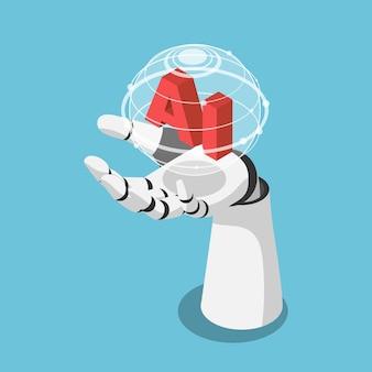 Płaskie 3d izometryczny ręka robota sztucznej inteligencji trzymającego futurystyczny glob z siecią połączeń. koncepcja sztucznej inteligencji i uczenia maszynowego.