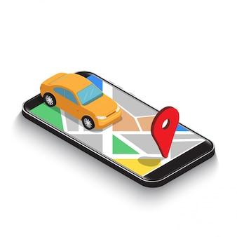 Płaskie 3d izometryczny samochód wykorzystanie nawigacji gps mapa aplikacji na smartfonie.