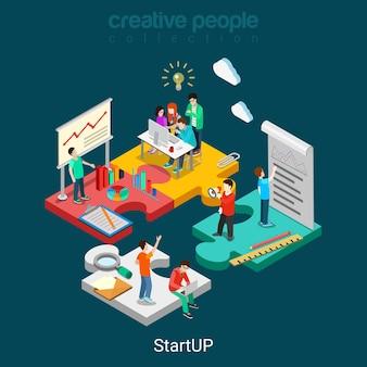 Płaskie 3d izometryczny start-up koncepcja web infografiki ilustracja