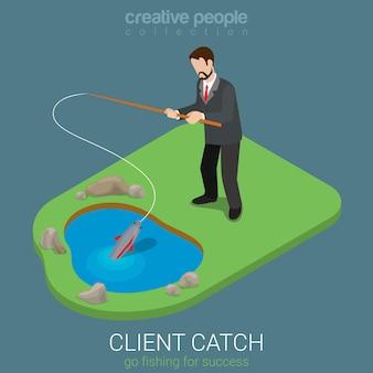 Płaskie 3d izometryczny styl klienta koncepcja złapania