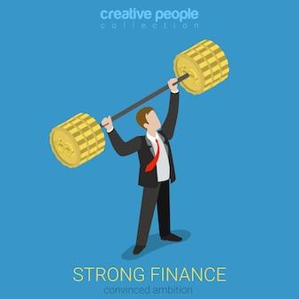 Płaskie 3d izometryczny styl silnej koncepcji pozycji finansów