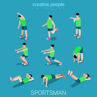 Płaskie 3d izometryczny styl sportowców koncepcja męskiego sportu