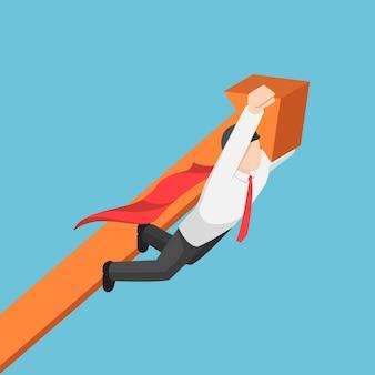 Płaskie 3d izometryczny super biznesmen niosący wykres biznesowy do nieba. sukces w biznesie i koncepcja przywództwa.