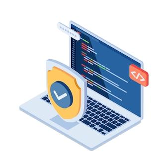 Płaskie 3d izometryczny tarcza i laptop z kodem języka programowania komputera na monitorze. koncepcja ochrony danych i cyberbezpieczeństwa.