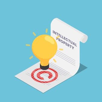 Płaskie 3d izometryczny żarówka na dokumencie własności intelektualnej. pojęcie własności intelektualnej i praw autorskich