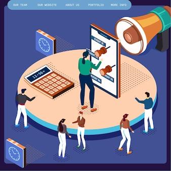 Płaskie 3d web izometryczne wnętrze pokoju biurowego