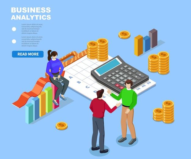 Płaskie 3d web izometryczny pokój biurowy wnętrze współpracy biznesmenów ilustracja pracy zespołowej