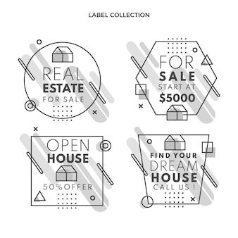 Płaskie abstrakcyjne geometryczne etykiety nieruchomości