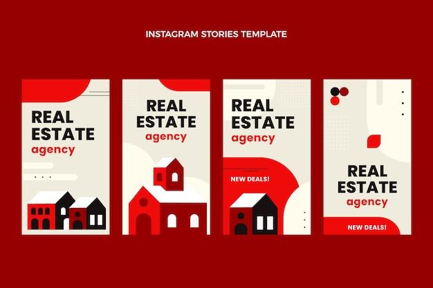 Płaskie abstrakcyjne geometryczne historie o nieruchomościach na instagramie
