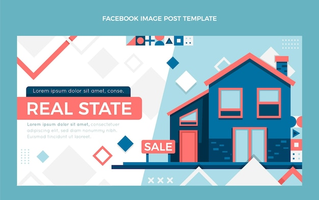 Płaskie abstrakcyjne geometryczne nieruchomości na facebooku post