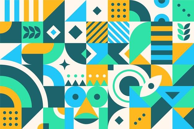 Płaskie abstrakcyjne kolorowe kształty geometryczne