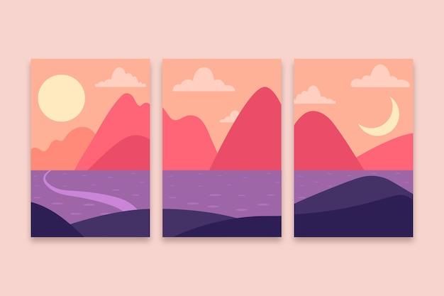 Płaskie abstrakcyjne okładki krajobrazowe