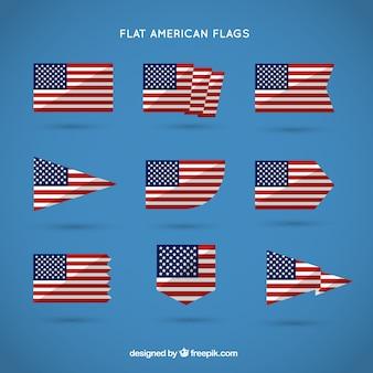 Płaskie amerykańskie flagi