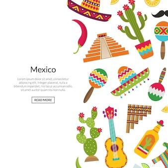 Płaskie atrybuty meksyku z ilustracja lato