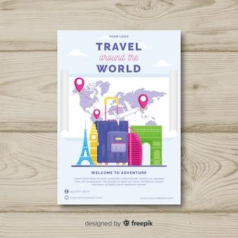 Płaskie bagażu podróży plakat szablon