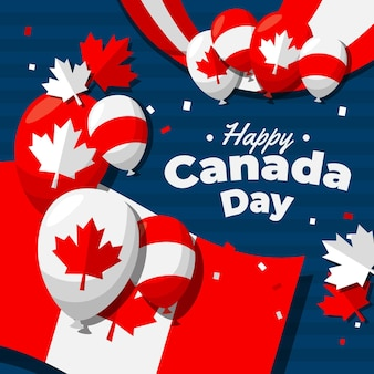 Płaskie balony dzień kanady tło