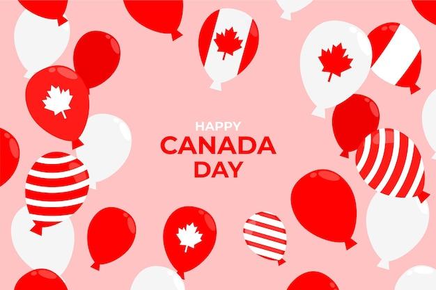Płaskie Balony Dzień Kanady Tło Darmowych Wektorów
